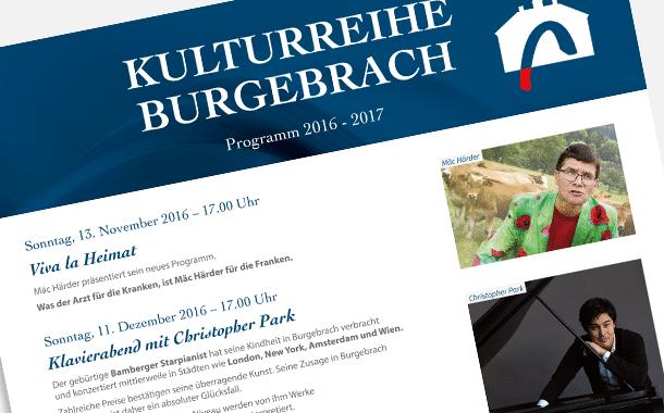 Programm zur Kulturreihe Burgebrach 2016/2017 steht fest
