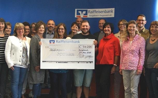Spendenübergabe der Raiffeisenbank Burgebrach-Stegaurach eG